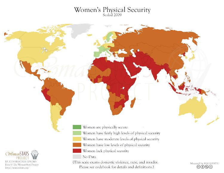 Kart som viser kvinners fysiske sikkerhet på en skala fra 1-5, der 1 er mest sikkert. Norge skårer 3. Ingen land skårer 1. Spania, Sverige, Frankrike og noen få andre land skårer 2. Det meste av Afrika, Midt-Østen og Sør-Asia skårer 5.