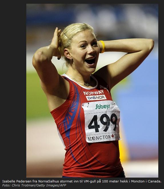 Bildet viser ei tydelig overraska og glad Isabelle Pedersen