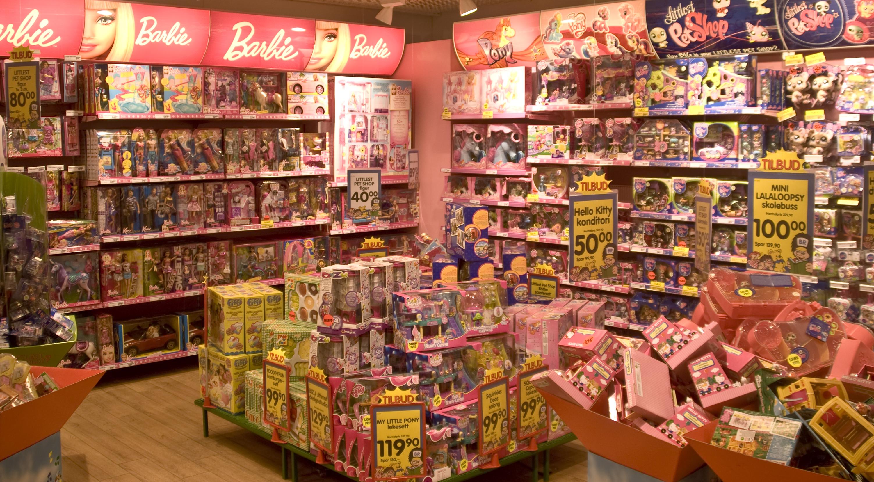 Barbie-avdelinga er en vegg av rosa