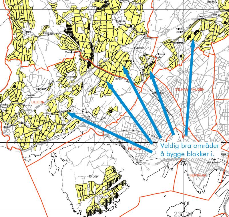 Bilde som peker ut gode områder for skikkelig fortetting.