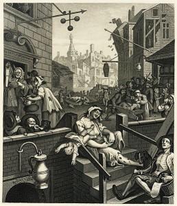 William Hogarth: «Gin Lane» (1751). Fri flyt av billig sprit er nok ikke veien å gå. Kilde: Wikimedia Commons (original)