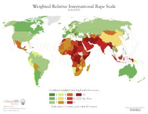 Kartet viser at voldtektssituasjonen er relativt bra i Norge, og at kvinner er mest utsatt i Afrika, Midt-Østen og Sør-Asia.
