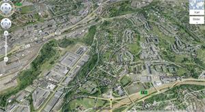 Bilde 2: Skjermdumpfaksimile fra Google Earth over Furuset. Bildet lenker til Google Earth.