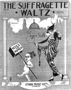 Suffragette Waltz. Record cover from the USA, 1914. License: In the public domain.