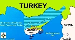 Kart som viser Tyrkias okkupasjonssone på Kypros. Lisens: CC0 via WIkimedia Commons.