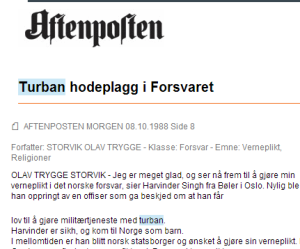 Facsimile of news clipping from Retriever: The Norwegian newspaper Aftenposten writes about a Sikh who was allowed to use his Turban during service in His Majesty the King's Guard. License: None, cf. Åndsverkloven §22 (Norwegian IPR law).