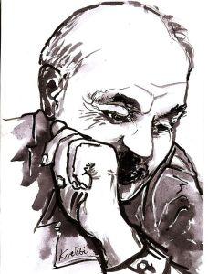 Bulat Okudzjava, russisk forfatter og visesanger. Kunstner: Zbigniew Kresowaty. Via Wikimedia Commons.